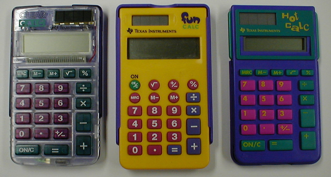 mark > s recent lcd calculators 3 recent models from texas instruments all basically variations on the four function solar powered calculator memory square root key and arithmetic