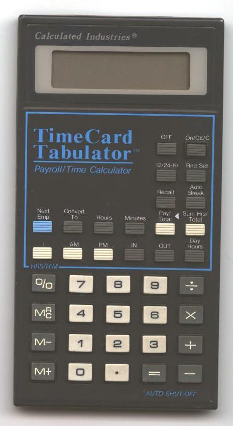 time card tabulator