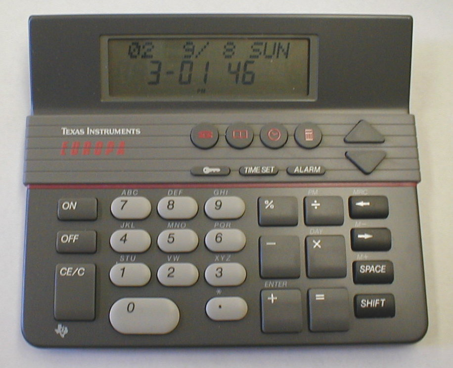 mark > s specialty calculators ti europa the europa is a full function desktop organizer including a four function calculator clock calendar